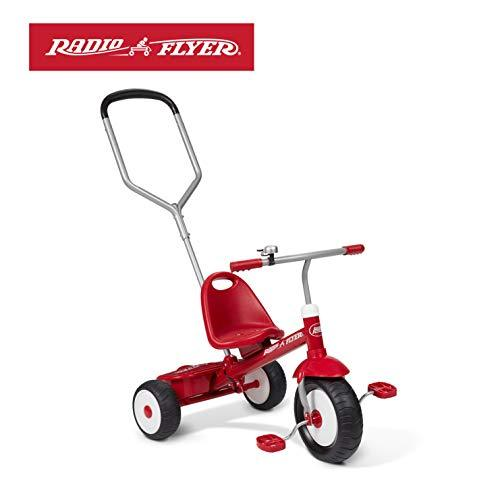 Radio Flyer 53V Deluxe Steer and Stroll Trike, Red, 28L x 21.5W x 19H in