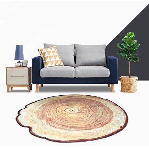 RAIN QUEEN 3D Tree Ring of Tree Trunk Round Rug (100x100cm/39.37inch), Natural Feel Carpet Chair Mat for Study, Living Room, Garden, Bedroom, Play Mat, Ideal Gift for Kids Nursery