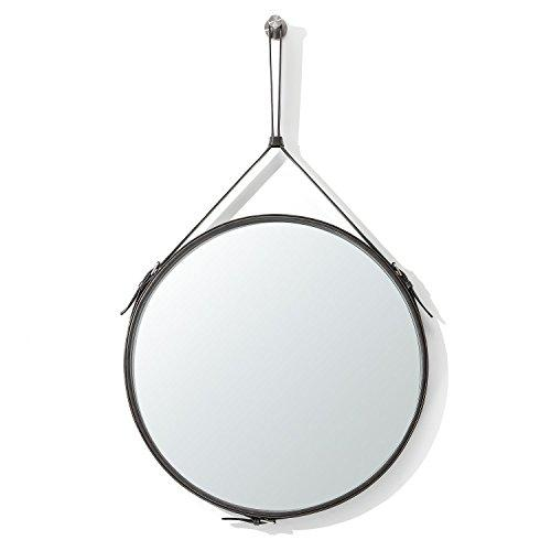 ranslen Decorative Hanging Wall Mirror,19.5 Inch Round Wall Mirror with Hanging Strap for Bathroom,Bedroom,Living Room Home Decor (Dark Grey)