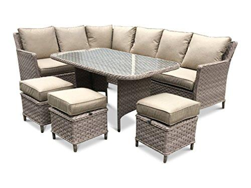 rattan garden furniture corner sofa set with dining table (Beige Cushions, Beige)