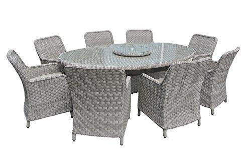rattan garden furniture oval dining table set with 8 armchairs (grey cushions, grey)