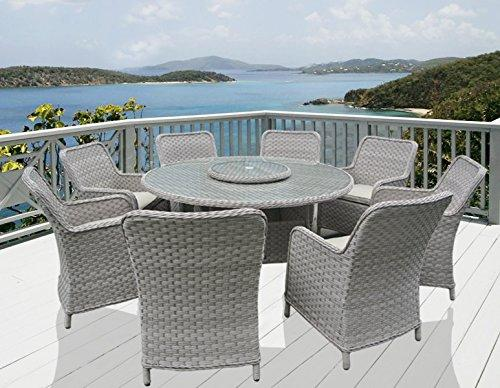 rattan garden furniture round dining set with 8 armchairs (cushion colour, Beige)