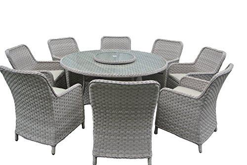 rattan garden furniture round dining set with 8 armchairs (grey Cushions, Grey)