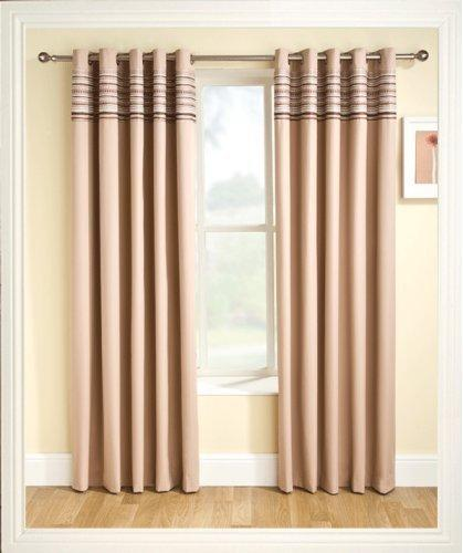 "Ready Made Eyelet Thermal Blackout Curtains with Co-ordinating Aztec Detail Panel. Colour and Size: Natural Beige 117cm (46"") x 137cm (54"")"
