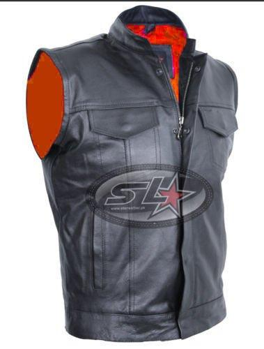 "REAL LEATHER MOTORCYCLE BLACK VARIOUS STYLE BIKER""CUT OFF"" WAISTCOAT/VEST(5XL Sun Of Anarchy(Gun Pocket))"