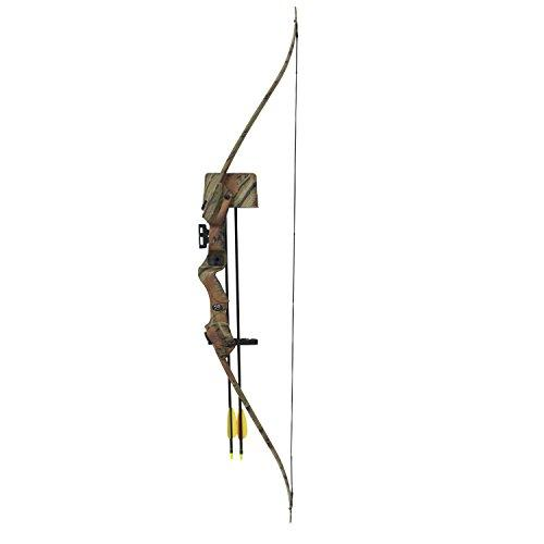 Recurve Bow Set Hellbow 20 lbs and 85 FPS for right-handed, camo color, an ideal set for the young archer