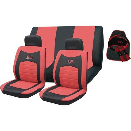 RED RS SEAT COVER CAR MAT STEERING WHEEL AND SEAT BELT COVER SET