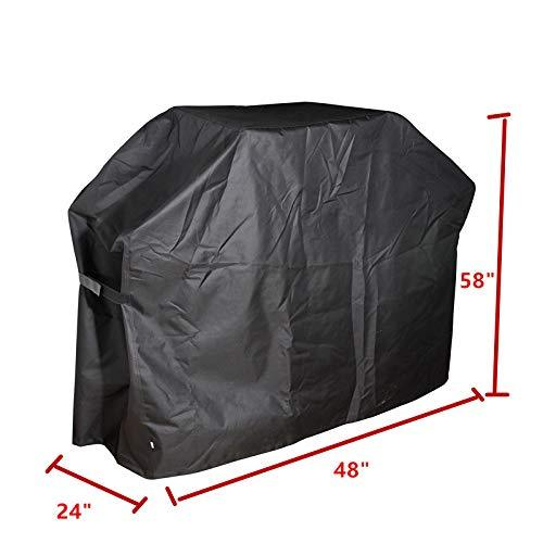 REDWOLF Waterproof Barbecue Gas Grill Cover Anti Fade BBQ Grill Cover Outdoor UV Dust Protection 48inch Black Portable
