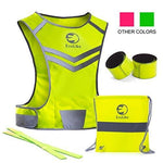Reflective Vest EvoLike of Unique Design for Running Walking Cycling Jogging Motorcycle with Pocket + 4 High Visibility Wristbands + Bag (Fluorescent Yellow, Size L/XL)