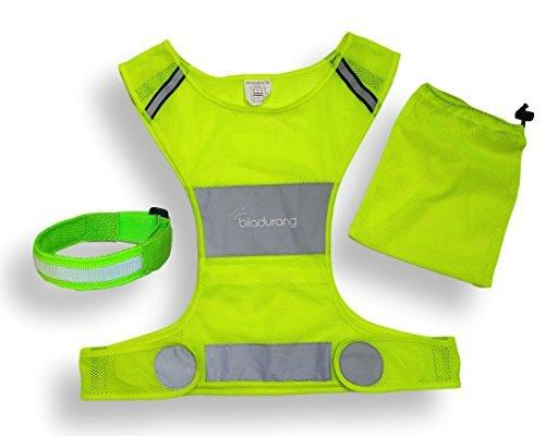 Reflective Vest & LED Armband for Running or Cycling. High Visibility Safety Vest | Comfortable Adjustable Lightweight Gear with Pocket for Jogging, Biking and Dog walking | Women and Men