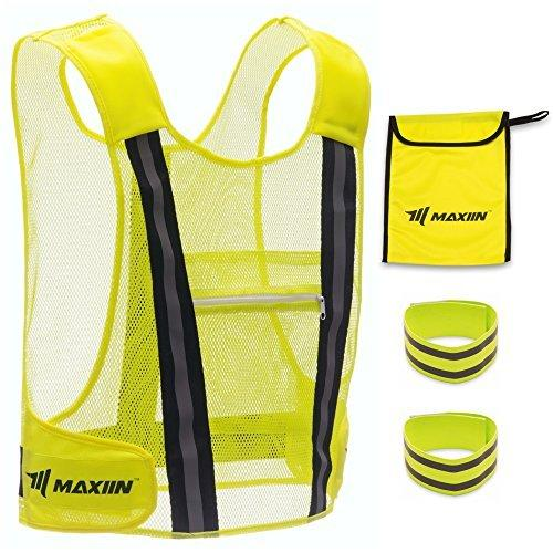 Reflective Vest with Large Pocket and 2 High-visibility Elastic Armbands and Carrying Pouch - Perfect Gear for Running, Jogging, Cycling, Dog Walking, Working or Safety Kit in your Car - by Maxiin