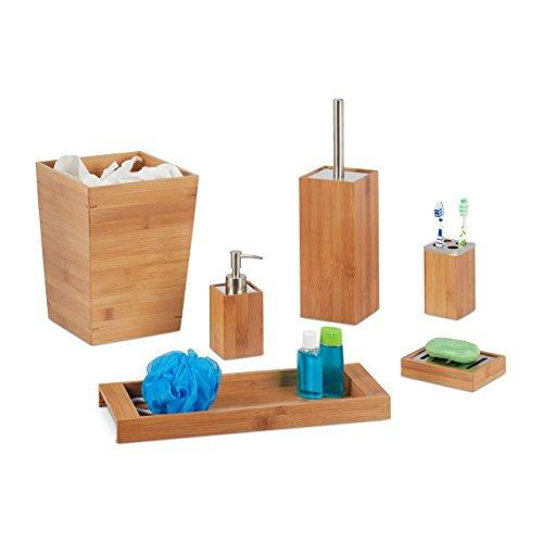 Relaxdays Bathroom Set, 6-Piece, Bamboo, Soap Dispenser and Dish, Toilet Brush, Toothbrush Holder, Tray, Bin, Natural