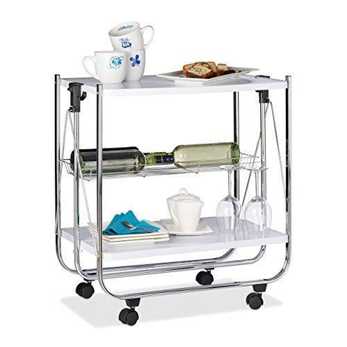 Relaxdays Foldable Serving Trolley, 4 Wheels, 2 Shelves, Basket, HxWxD: 68.5 x 68 x 40.5 cm, Kitchen Cart, White