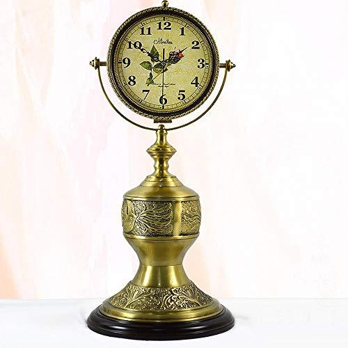 Relddd Mantel Clock,Brass Mute Double-Sided Grandfather Clock Living Room Retro Clock Table Ornaments 31 * 31 * 70cm