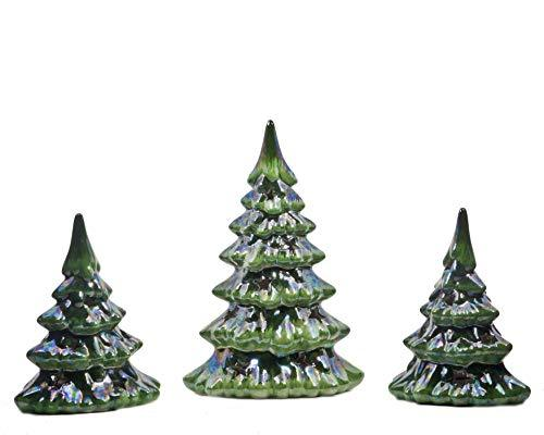 ReLive Christmas is Forever Lighted Tabletop Ceramic Tree, Set of 3, 9-Inch LED Pearlized Green Trees