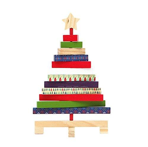 RemeeHi Rotate Wooden Christmas Tree Home Decor Desk Small Mini Christmas Ornaments Tree Office Counter School Shop Stand Decoration Large