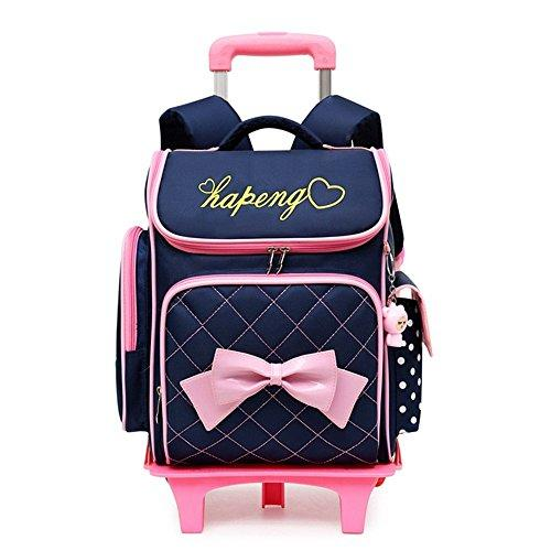 Removable Children School Bags with 2/6 wheels for Girls Trolley Backpack Kids Wheeled Bag Kids Bookbag Travel Luggage Mochila,2 wheels Dark Blue