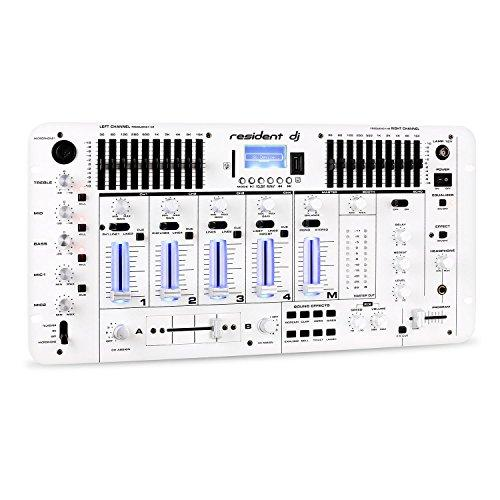 Resident DJ Kemistry 3 DJ Mixer • 4-Channel • Bluetooth • USB • SD • XLR • Jack • RCA Connectors • 10-Band Equalizer per Channel • Clar Layoff • Offset Connector Panel • Option for 48 cm Rack Mounting • High Performance • White
