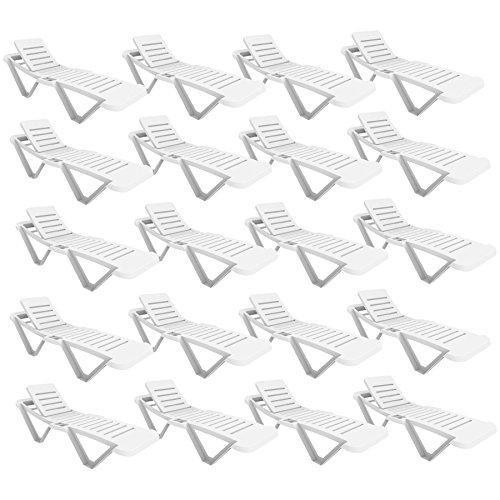 Resol White Sun Lounger - UV Resistant, stylish and durable furniture for your garden - Bulk Pack of 20 Sun Loungers