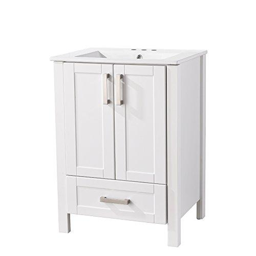 RESSORTIR Luxury Modern Single Bathroom Vanity with Ceramics Sink, Include Two Doors and one Drawer, White, Wood