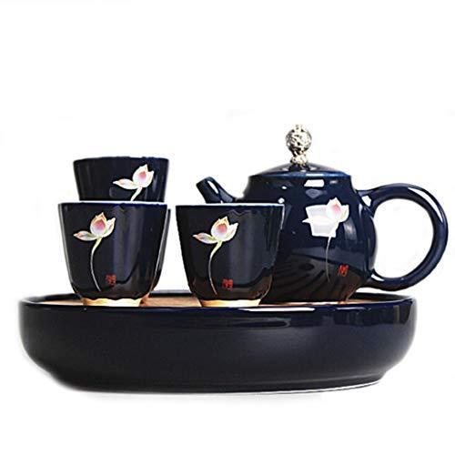 Retro Kung Fu Tea Set, Chinese Indigo Simple 1 Pot 4 Cups Portable Travel Tea Set, Office/Home/Business Gifts
