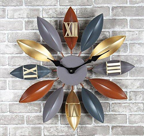 Retro l iron Leaf Wall Castle Creative Bar Cffice cafe Decoration Clock , b