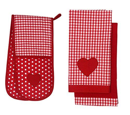 Retro Style Vintage Home RED & WHITE Gingham Check / Polka Dot Tea Towels & Double Oven Glove SET