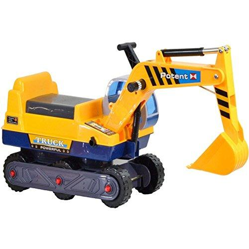 Rexco Childrens Kids Ride on Excavator Digger Indoor and Outdoor Push Along Builders Construction Toy Yellow Car Truck Tractor