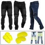 REXTEK Motorbike Motorcycle Armoured Denim Jeans Pant Trouser Safety Protection 2X Knee Guards 2X Hip Guards Mens Boys Adult/Size 2XL Waist - 38