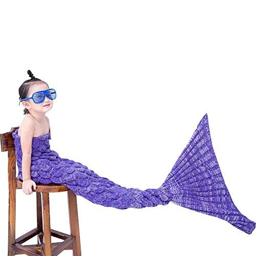 RGTOPONE Girls Soft Crochet Mermaid Tail Blanket Handmade Warm Throw All Seasons Fishtail Knitted Bed Sheet Snuggle-in Bed Costume Sofa for Kids,Enjoying Sleeping and Will Not Catch Cold - Purple