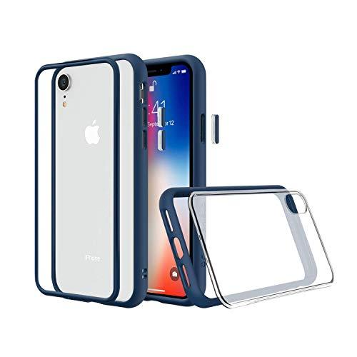 RhinoShield Modular Case for iPhone XR [Mod NX] | Customizable Shock Absorbent Heavy Duty Protective Cover - Compatible w/Wireless Charging & Lenses - Shockproof Royal Blue Bumper w/Clear Back