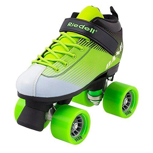 Riedell Dash Quad Indoor Roller Skate for Kids Green & White Size3