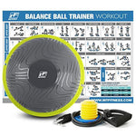RitFit Balance Ball Trainer for Yoga,Fitness,Strength Exercise with Air Pump, Resistance Bands and Free Exercise Wall Chart (Green Wave Pattern)