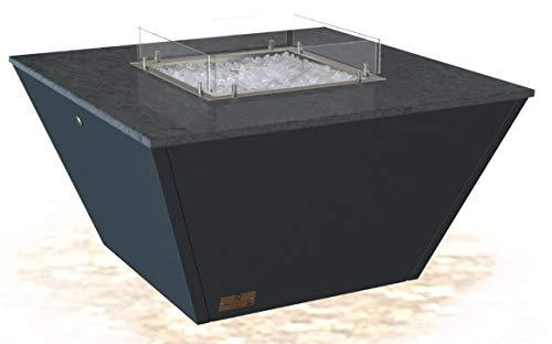 RIVELIN- INCA - Anthracite Grey base & Tornado Grey Granite Table Top- Gas Fire Pit Table (Fixed Windshield, Ceramic Ice)