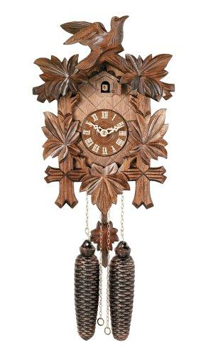 River City Clocks Traditional German Cuckoo Clock with Five Hand-Carved Maple Leaves And One Bird, 14-Inch Tall by River City Clocks