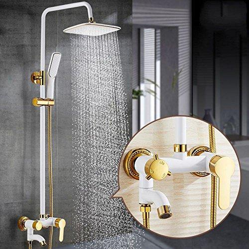 Rmckuva Bath Shower Systems Shower Set Three Functions Hand Shower Top Shower Head Bathtub Faucet Modern Adjustable Height Brass Flexible Shower Hose Includes Complete Accessories White - 15