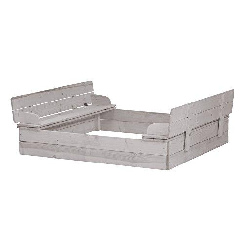 roba sandbox hinged, wooden sandbox made of weatherproof solid wood, grey glased, functional lid for the seat included.