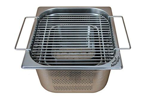 Rogge's RelaxGrill - built-in grill made of stainless steel for the garden table and the outside kitchen - eating together on the charcoal grill, like the raclette or fondue with friends or the family