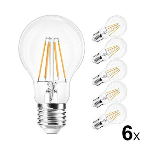 ROHSCE A60 8W LED Bulb,Edison E27 Medium Screw Bulb,Vintage LED Filament Bulb, Edison Bulb 75-80W Incandescent Replacement, Non-dimmable,600lm, Warm White 2700K, 220-240V (6 pack)