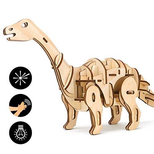 ROKR Remote Dinosaur Toys 3D Wooden Jigsaw Puzzle with Sound Control Woodworking Kits Model For Kids 8 9 10 11 12 13 14 Year Old Up-Best Present For Adults