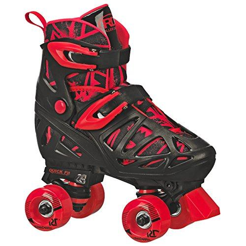 Roller Derby Unisex's Trac Star Boy's Adjustable Roller Skate, Black/Red, Large (3-6)