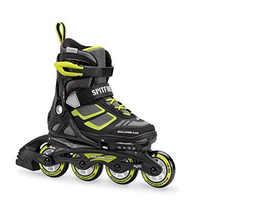 Rollerblade Spitfire XT Boy's Adjustable Fitness Inline Skate, Black and Lime, Junior, Youth Performance Inline Skates