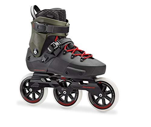 Rollerblade Twister Edge 110 3WD Unisex Adult Fitness Inline Skate, Black and Army Green, Premium Inline Skates, Size 8.5
