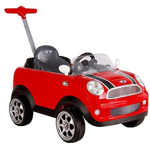 ROLLPLAY Push Car with Adjustable Footrest and Pedals, For Children 1 Year and Older, Up to 20 kg, MINI Cooper, Red