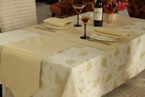 Roman at Home Gold Christmas Tree Design Table Linen Set for 8 Seater Tables (Contains Table Runner, TableCloth, Placemats Napkins