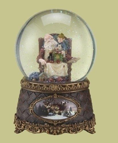Roman Christmas Musical Santa Claus with Elf and Gifts Snow Globe
