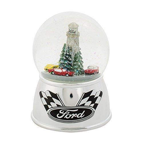 Roman Ford Motor Co Racing Cars Winter Holiday Snow Globe Dome Musical Plays Drive My Car 6""