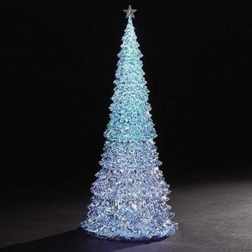 Roman Set of 2 LED Lighted Color Changing Christmas Tree Table Top Decorations 17""