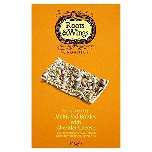 Roots & Wings Multiseed Brittles with Cheddar Cheese 125g - Pack of 2