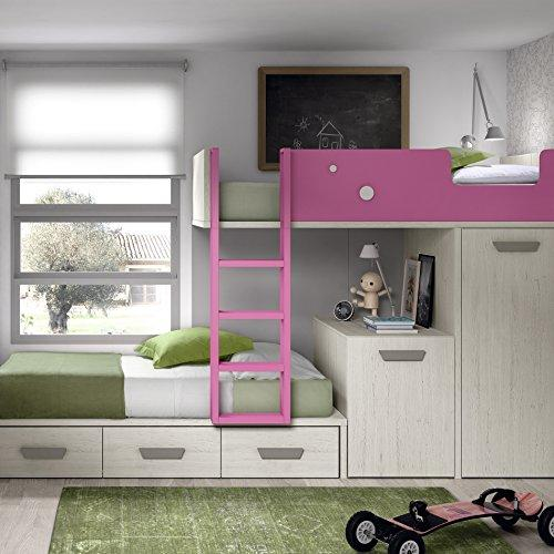 ROS Bunk Bed with Removable Desk, Wardrobe and 2 Drawers - 164.4 x 246.5 x 103.4 cm
